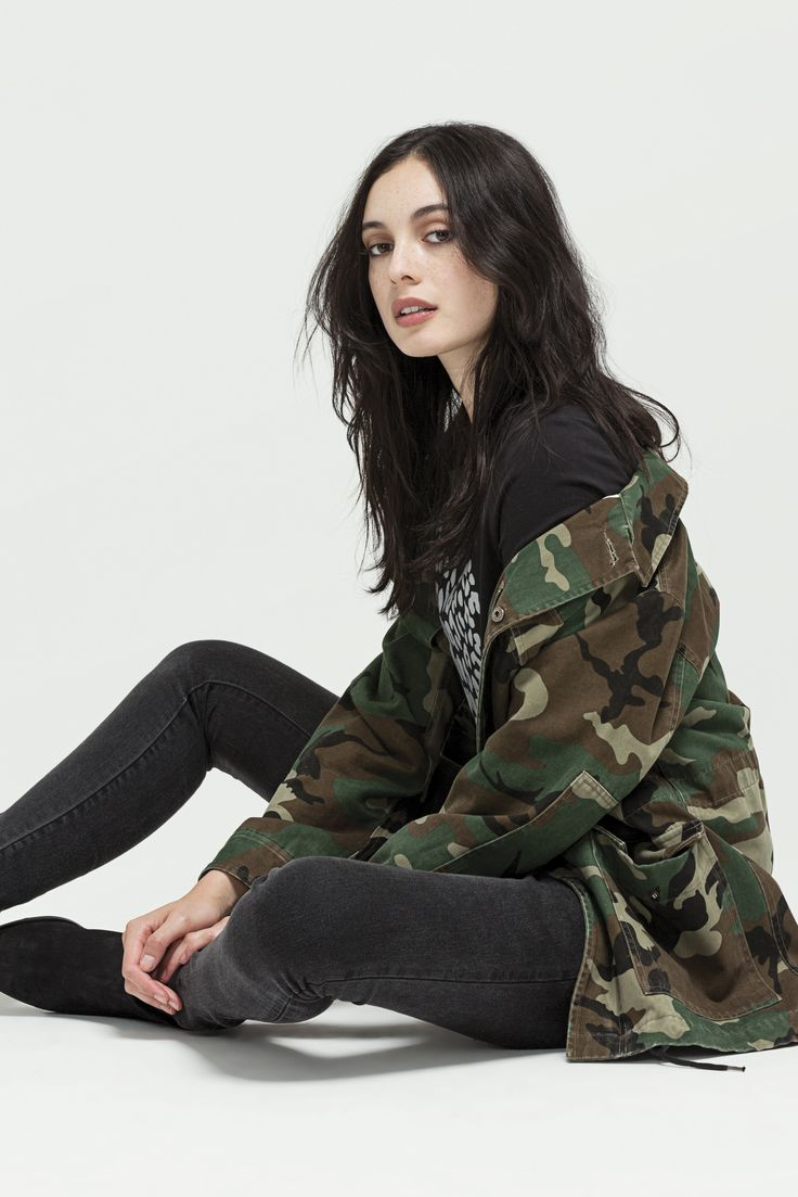 M-51 Field Jacket (Forest Camo), Girlfriend T - Leopard Heart (Black) and W - Mid Rise Skinny (Vintage Black)