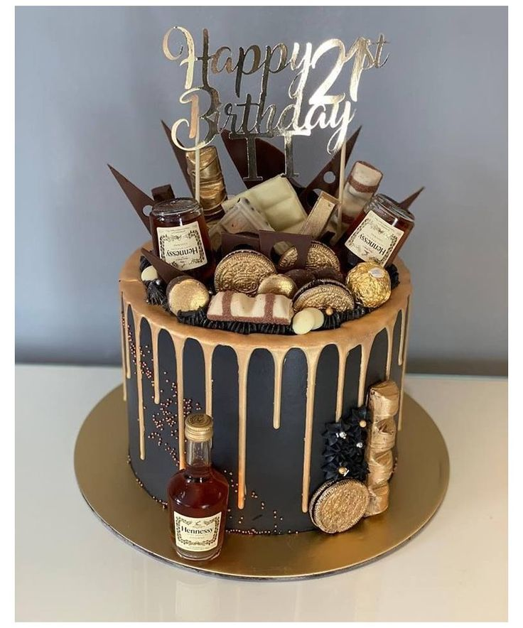 21st Birthday Cake For Guys, Birthday Drip Cake, 25th Birthday Cakes, Alcohol Birthday Cake, Chocolate Birthday Cake For Men, Birthday Cake For Boyfriend, Birthday Cakes For Adults, 25th Birthday Ideas For Him, Husband Birthday Cake
