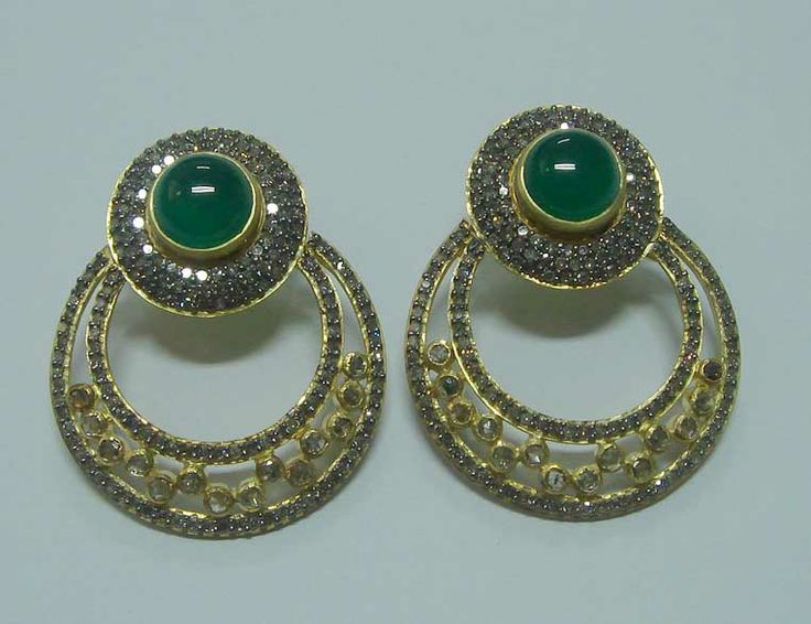 Gold plated silver hoops with Jade and high quality Cubic Zirconia diamonds.