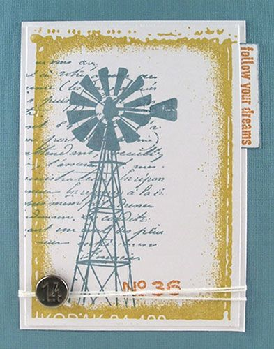 Card by Suzz Czosek using Darkroom Door Emulsion Frame Stamp, French Script Texture Stamp, Country Windmill Photo Stamp, Vintage Office and New York Vol 1 Rubber Stamp sets!