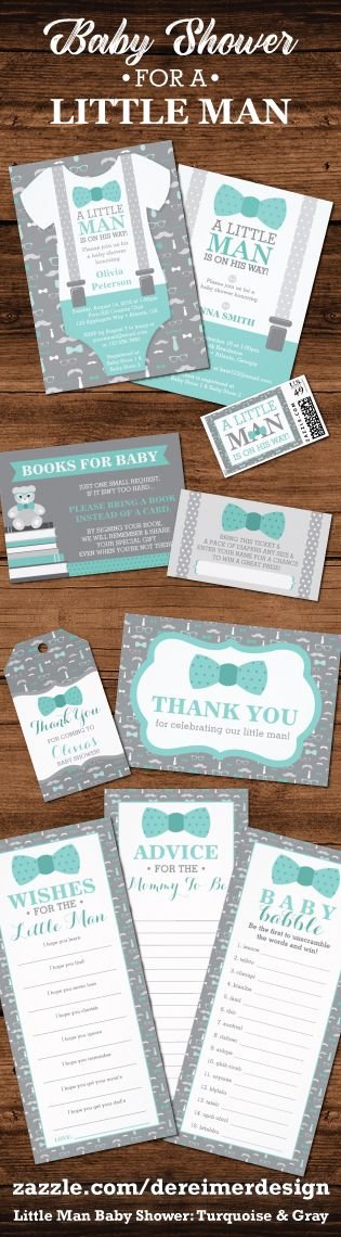 Little Man Baby Shower Collection in Turquoise and Gray, Tiffany Blue Baby Shower, Bow Ties and Mustaches