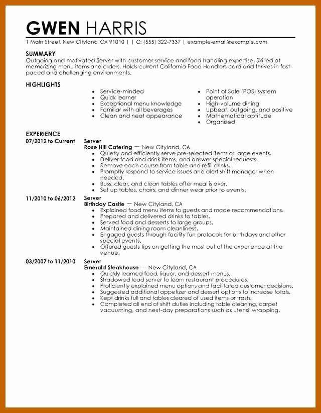 Servers Resume Job Description Lovely 10 11 Server Description For Resume Server Resume How To Memorize Things Job Description
