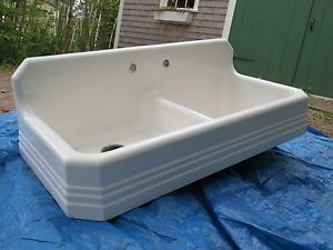 ANTIQUE Richmond 1939 CAST IRON Farm FARMHOUSE KITCHEN SINK W/ LEGS U0026  DRAINBOARD