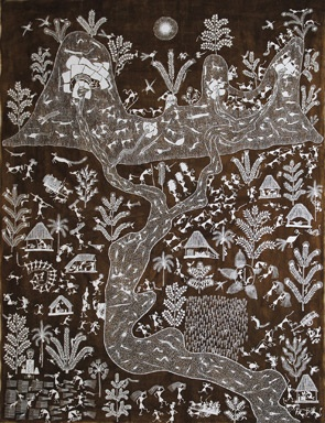 Warli Paintings, Balu Mashe, 2002. Acrylic and cowdung on canvas, 114 x 150 cm. (44 ¾ x 59 in.).