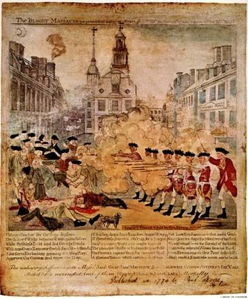 paul revere s depiction of the boston The boston massacre, perpetrated on march the 5th, 1770 woodcut by paul revere a monumental inscription on the fifth of march broadside with woodcut by paul revere henry pelham's engraving henry pelham's depiction of the boston massacre, the fruits of arbitrary power, or the bloody massacre, was published in the spring of 1770.