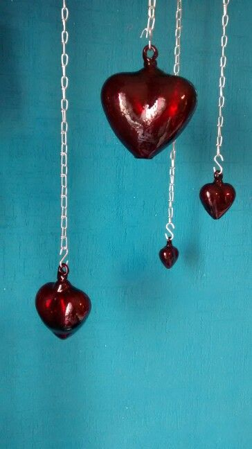 Heart shaped blown glass
