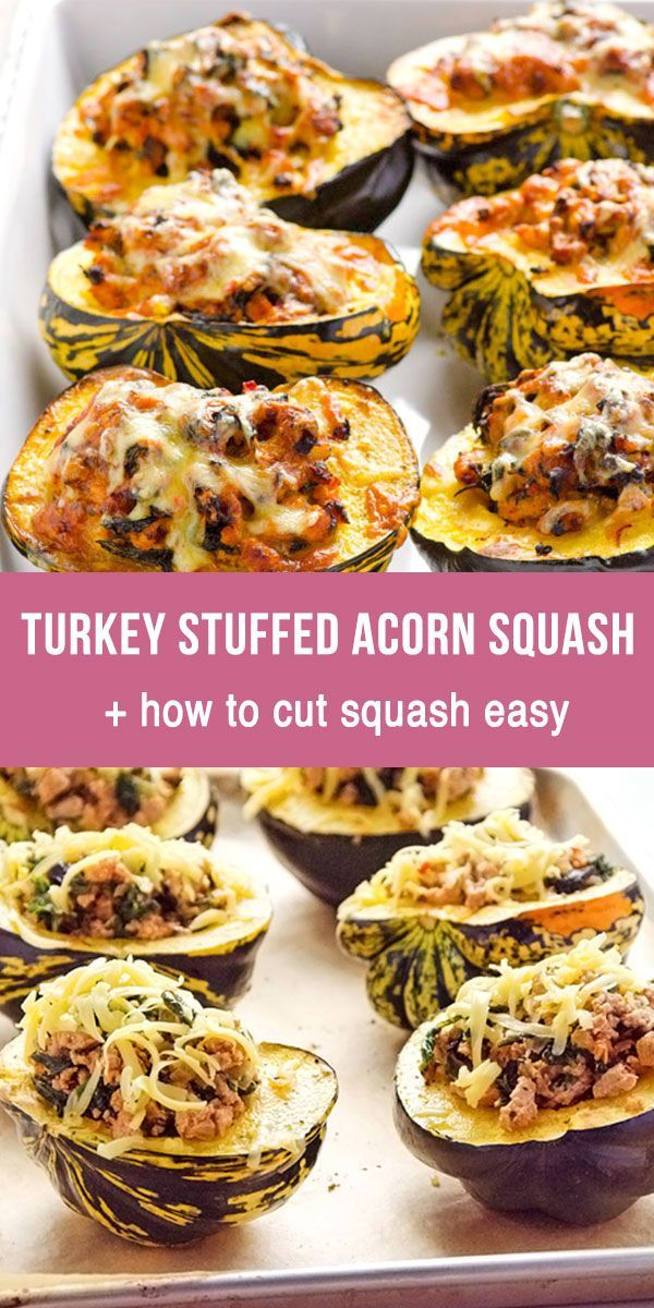 Turkey Stuffed Acorn Squash Recipe With Ground Turkey Meat And