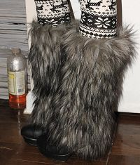 Faux fur leg warmers for my little cheerleader