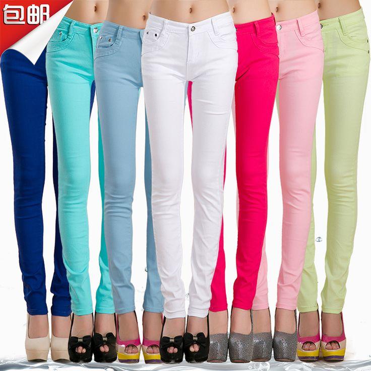 2016 весной и летом новые конфеты цвета джинсы корейской версии госпожи узкие брюки ноги тонкий карандаш брюки тонкие модели - Taobao