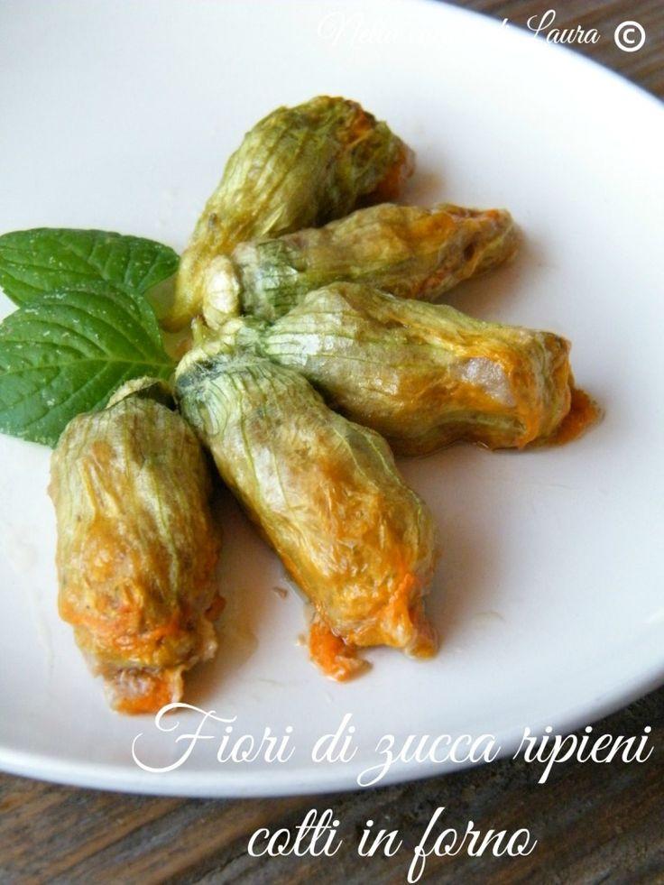 fiori di zucca ripieni cotti in forno - nella cucina di laura