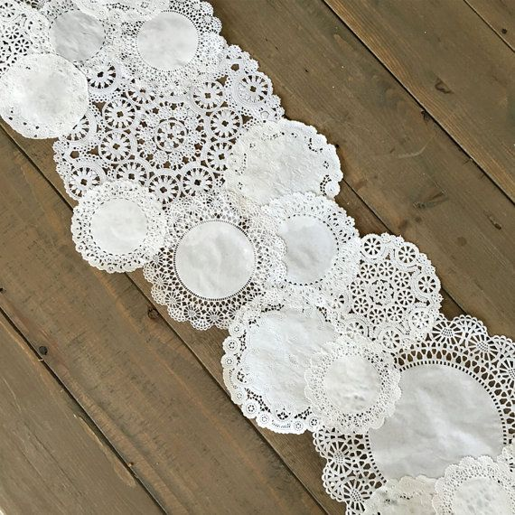 Add style to any table top!!  This Prettie listing is for a Prettie Paper Lace Doily DIY Table Runner Set  You will recieve a mix of 4 doily styles Brooklace, Cambridge Lace, Medallion Lace and Royal Lace in equal combinations of individual 4, 5, 6, 8, 10 inch sizes [quantity will depend on length]. When pieced together as pictured, runner will measure between 10 - 12.5 wide. Length does not include overhang.  DOILY DIY TABLE RUNNER  Recommended Materials  Paper Doily Variety pack Glue dots…