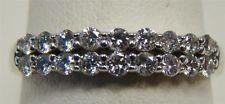 NEW 14K WHITE GOLD DOUBLE ROW DIAMOND ANNIVERSARY BAND RING 1/2 cttw SIZE 7 ELO