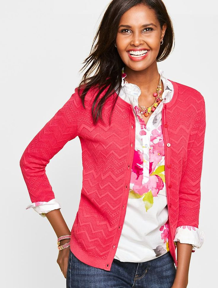 Charming Cardigan-Chevron Stitched - Talbots - SB May 2017