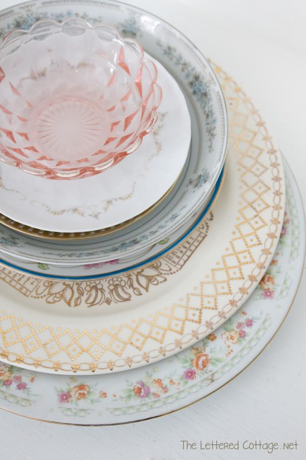 Valentines Day Crafts – Table Runner & Vintage Dishes | The Lettered Cottage