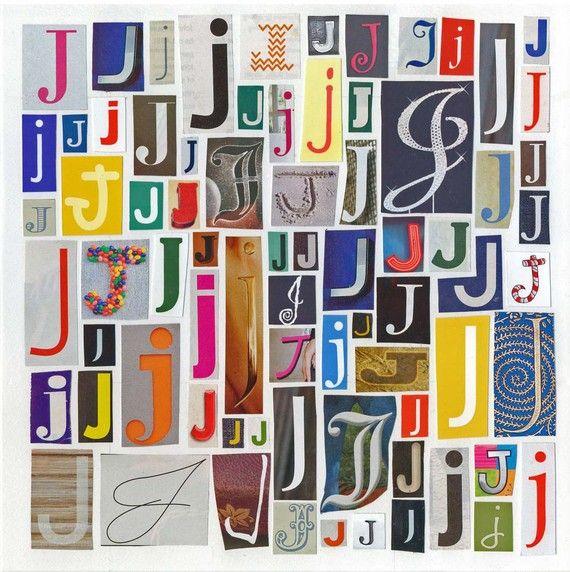 Letter J - Art Print of  Alphabet Collage Series. $14.00, via Etsy.
