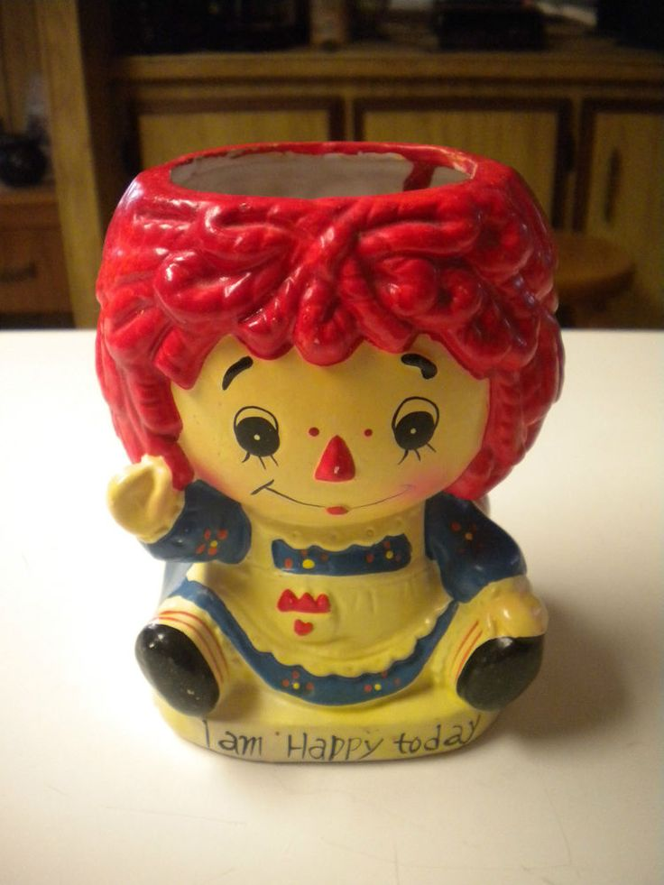 Vintage Ceramic Raggedy Ann Vase Planter Reversible