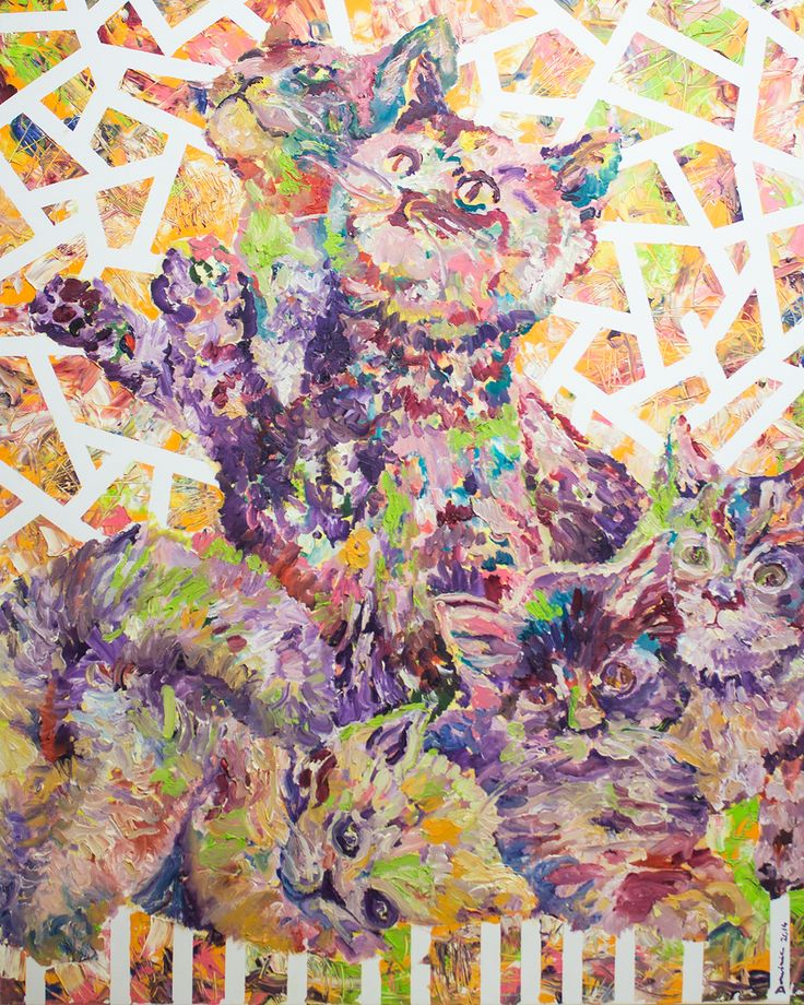 KIttens in Heaven (100x80cm, oil on canvas, 2014, private collection)