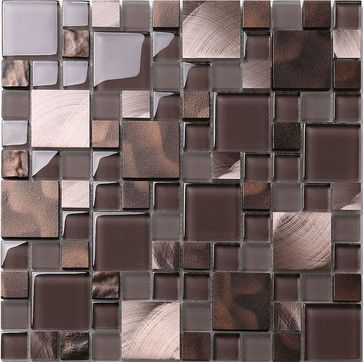 "Brown Bronze Metal Glass Mix Kitchen Backsplash Tile, 12""x 12"" Sheet - contemporary - Tile - Backsplash"