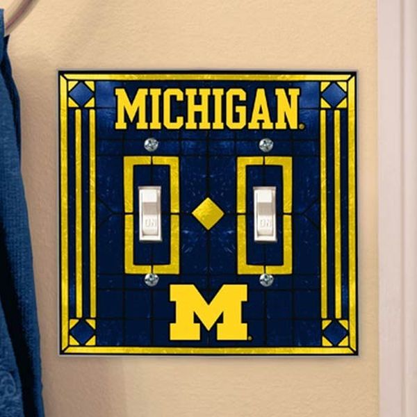 Michigan Wolverines Art-Glass Double Switch Plate Cover - $12.99