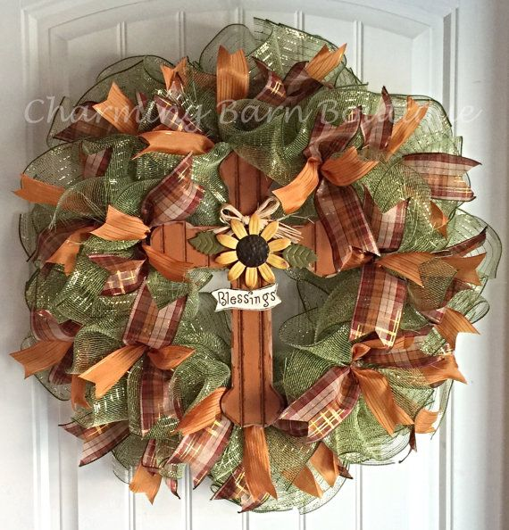 READY TO SHIP!! Blessings Sunflower Cross Deco Mesh Wreath - Fall Wreath - Autumn Wreath - Blessings Cross - Mesh Wreath - Fall Wreath