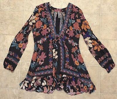 Free People Boho Floral Festival Dress Multicolored Womens Size 8  | eBay
