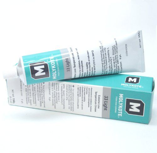 Dow Corning Molykote 33 Light Grease Lubricant 5.3oz 150g Tube  Dow Corning Molykote 33 Light Grease Lubricant 5.3oz 150g Tube DOW CORNING® MOLYKOTE® 33 LIGHT EXTREME LOW TEMPERATURE BEARING GREASE, O-Ring, Valve and Rubber/Plastic/Metal Component Lubricant/Grease, Light Grade (33L), NLGI #1 Consistency, White Color. A Phenyl-methyl silicone grease with Lithium Stearate for extremely low to high temperature applications, -100ºF to 400ºF (-73ºC to 204ºC). Used to lubricate ball bearin..