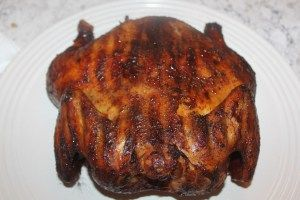 smoked chicken; Dry Rub Ingredients: 1/4 cup brown sugar 1/4 cup paprika 2 tablespoons Kosher salt 2 tablespoons freshly ground black pepper 1 tablespoon cayenne pepper 2 tablespoons garlic powder 2 tablespoons onion powder ; Wash chicken, place in fridge for at least 20 min. to dry the skin, oil the bird, then put on the rub, let sit 10 min. and place in smoker. Smoke for a couple of hours @ 235. Finish cooking. 3-4 hours total.