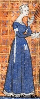 Cote hardie from the 14th century. In France, the cote-hardie  was a sleeved garment for outdoor wear that was first worn by the lower classes and later became more elegant, often fur-trimmed or fur-lined.