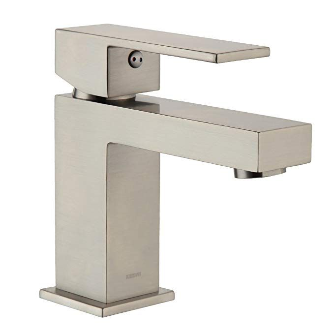 Keewi Bathroom Faucets Single Handle 4 Inch Modern Chrome Brass