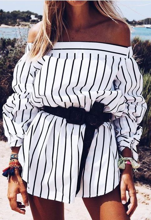 #summer #outfits / striped off the shoulder playsuit