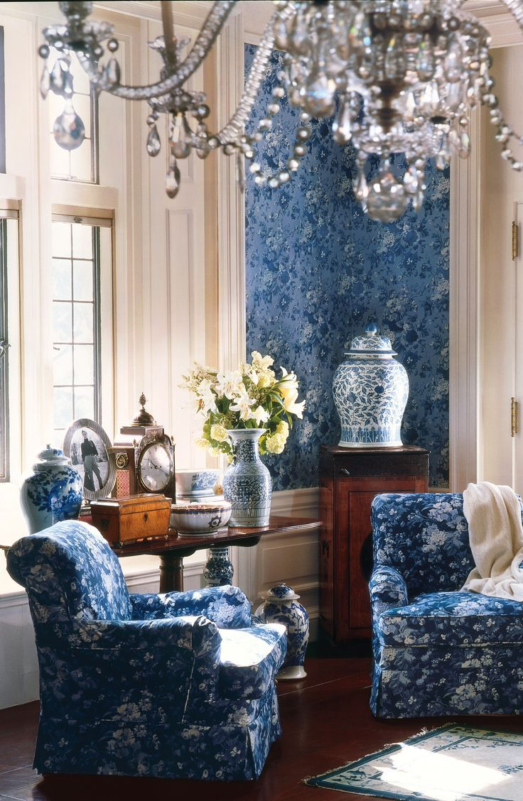 Interiors living room white blue the elegance of royal blue ralph lauren