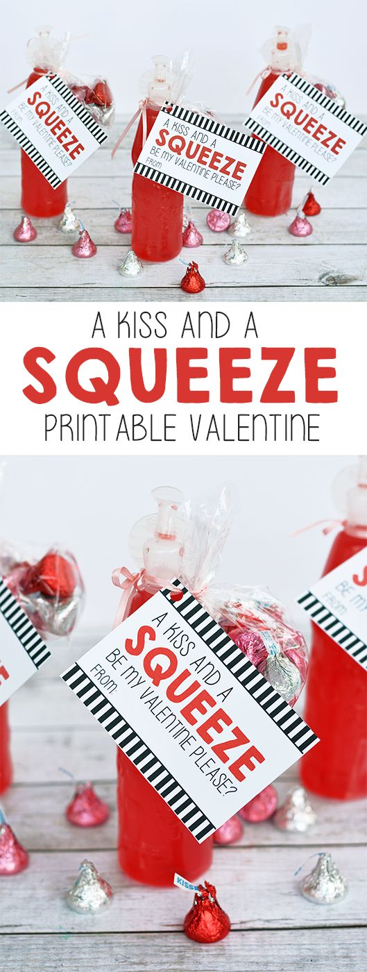 """""""Kiss and a Squeeze"""" Koolaid and Hershey's Kisses Printable Valentine"""