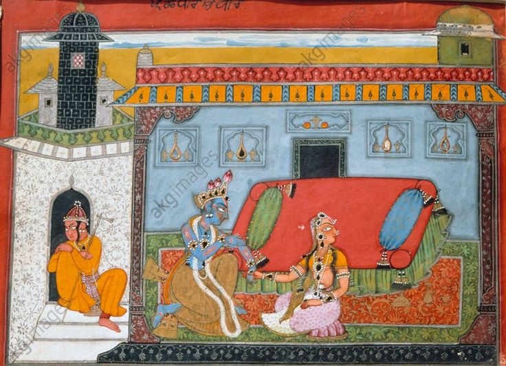 "Krishna and Nayika. Pahari school, Basohli style, 3rd quarter of 17th century. ""A Bitter Look"". From a series of illustrations to the poem ""Rasamanjari"" by Bhanudatta. Jammu, Dogra Art Gallery."