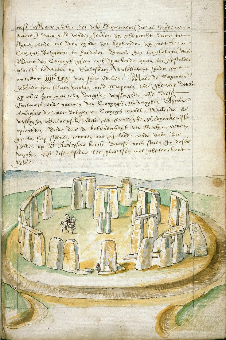 Description of Great Britain and Ireland - caption: 'Drawing of Stonehenge'