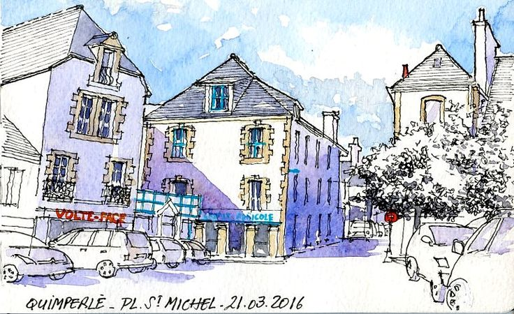 Croquis du lundi matin avec le groupe des croqueurs quimperlois. Place Saint-Michel en haute ville Aquarelle sur carnet Moleskine 13x21 cm  Monday morning sketch with the urbansketchers group of Quimperlé. Saint-Michel square in  upper-town Watercolor on Moleskine sketchbook 13x21 cm