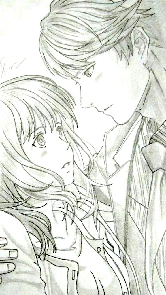 Couple Anime Manga Sketch Drawing Cute Boy Girl Pencil Easy Simple Boy And Girl Sketch Pencil Drawings Drawings