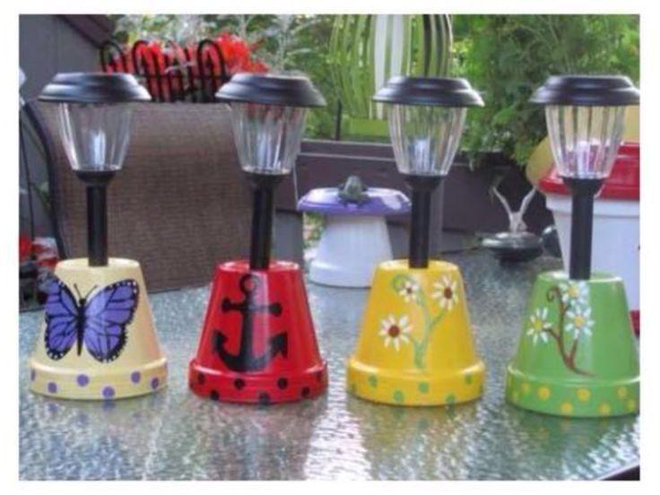 Moederdag: solar-lampjes van Action staan in een zelfgeschilderde bloempot. AK