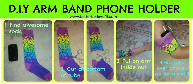 d i y armband phone holder finally a use for all your lonely socks hooray to be healthy. Black Bedroom Furniture Sets. Home Design Ideas