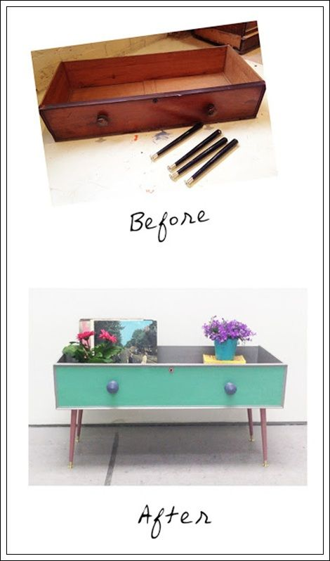 Add legs to a drawer for a table with sides...could even add keepsakes, a glass top and have a conversation piece. This site is in a foreign language but the pictures are pretty self explanatory.im always looking for new ways to use and re purpose drawers.
