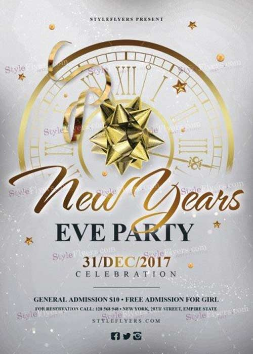 New Year-s Eve V11 2017 Party PSD Flyer Template Free Download