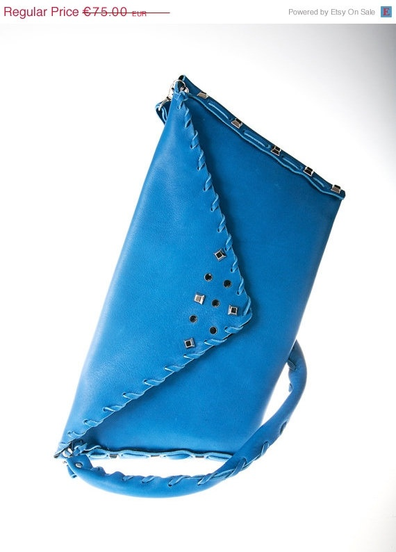 on sale blue cobalt leather purse bag by ElenLovelyCollection, €67.50