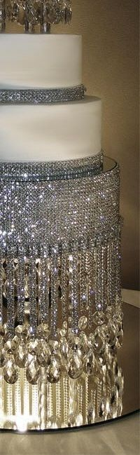 The only way to do my wedding cake- less cake, more bling (also less $ for cake if you can do the bling yourself.) !