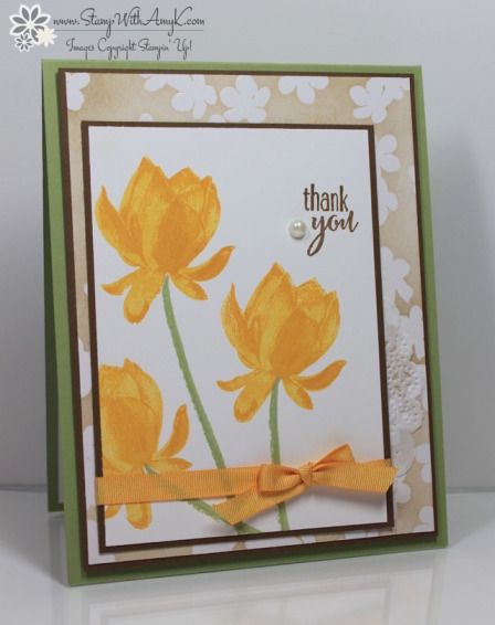 Stampin' Up! ... handmade card from Stamp With Amy K ... trio of bright yellow triple stamp Lotus Blossom flowers ... like the layout too ...