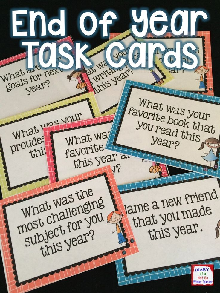 End of Year Task Cards will get students talking or writing as they reflect on their school year!