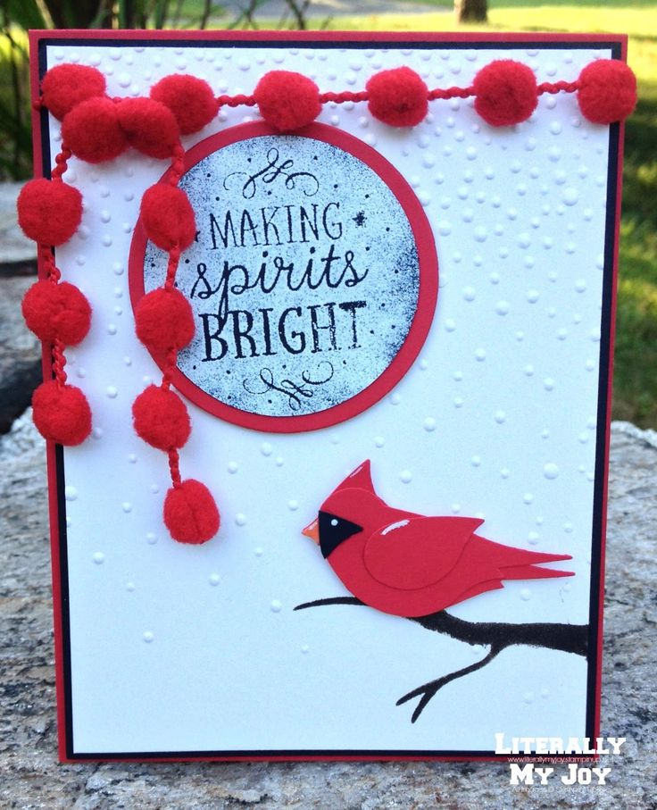 Bright Spirits | Stampin' Up! | Among the Branches | 2015 - 2016 Holiday Catalog | Punch Art | Stylin' Stampin' INKspiration #cardinal #punchart #literallymyjoy #heatembossing #ssink