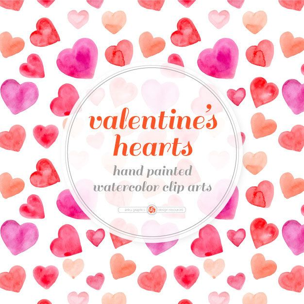 VALENTINE'S HEARTS - 45 hand painted watercolor hearts for instant download, valentine's craft, watercolor clipart, postcard, red heart by ankugraphics on Etsy