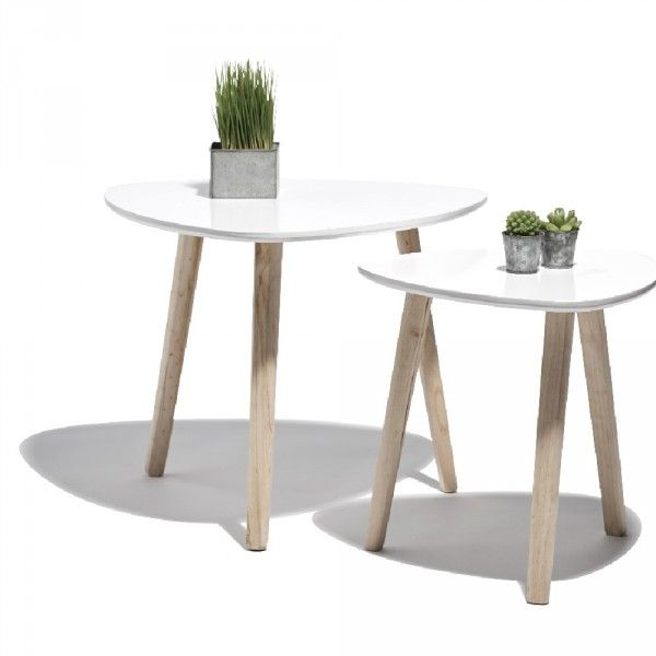 Bout De Canape Blanc Emma X 2 New Home Table Basse Scandinave