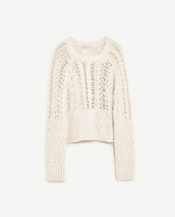 Image 8 of OPEN-WORK CABLE KNIT SWEATER from Zara