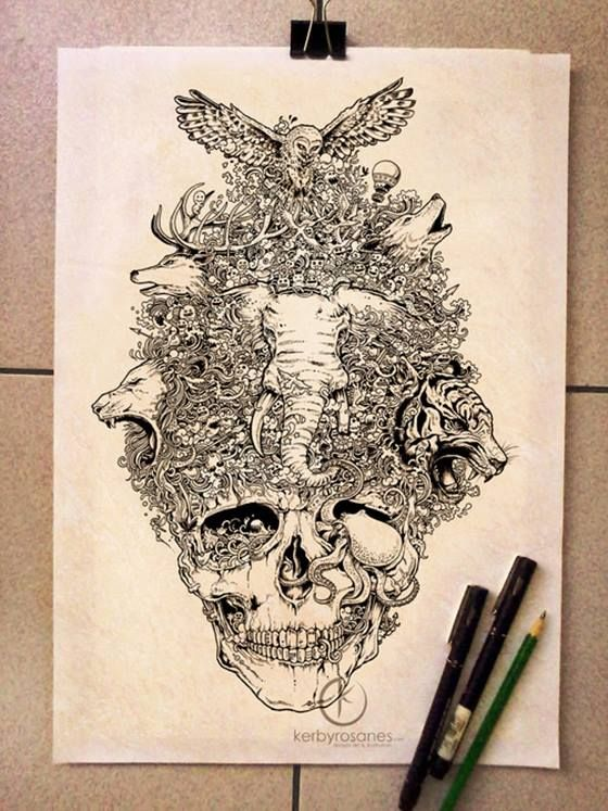 The doodle art of Kerby Rosanes. this may be the tattoo design i've been looking for!! <3 <3
