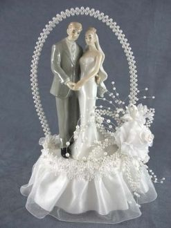 pearl elegance arch bride and groom cake topper traditional wedding